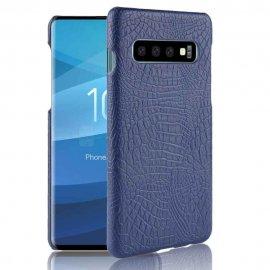Carcasa Samsung Galaxy S10 Plus Cuero Estilo Croco Azul