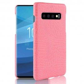 Carcasa Samsung Galaxy S10 Plus Cuero Estilo Croco Rosa