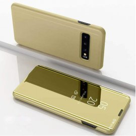 Funda Libro Smart Translucida Samsung Galaxy S10 Plus Dorada