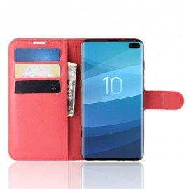 Funda Libro Samsung Galaxy S10 Plus Soporte Roja