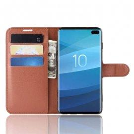 Funda Libro Samsung Galaxy S10 Plus Soporte Marron