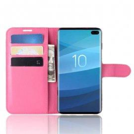 Funda Libro Samsung Galaxy S10 Plus Soporte Fucsia