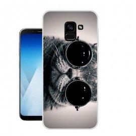 Funda Samsung Galaxy A8 2018 Gel Dibujo Gato con Gafa