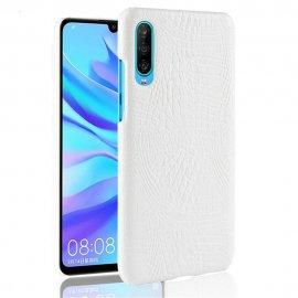 Carcasa Huawei P30 Cuero Estilo Croco Blanca