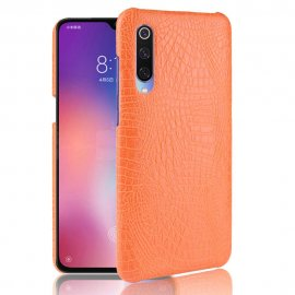 Carcasa Xiaomi MI 9 Cuero Estilo Croco Naranja