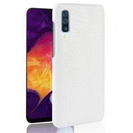 Carcasa Samsung Galaxy A50 Cuero Estilo Croco Blanco