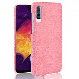 Carcasa Samsung Galaxy A50 Cuero Estilo Croco Rosa