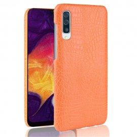 Carcasa Samsung Galaxy A50 Cuero Estilo Croco Naranja