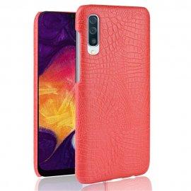 Carcasa Samsung Galaxy A50 Cuero Estilo Croco Roja