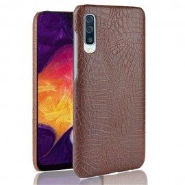 Carcasa Samsung Galaxy A50 Cuero Estilo Croco Marron