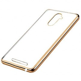 Funda BQ Aquaris U Plus Gel Transparente con bordes Dorados