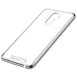 Funda BQ Aquaris U Plus Gel Transparente con bordes Plateado