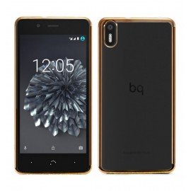 Funda BQ Aquaris X5 Gel Transparente con bordes Dorados
