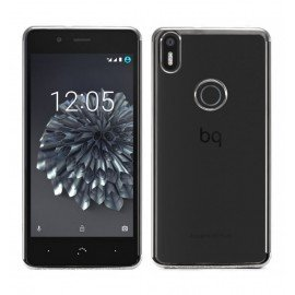 Funda BQ Aquaris X5 Gel Transparente con bordes Plateado
