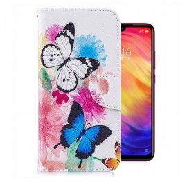 Funda Libro Xiaomi Redmi 7 cuero Soporte Dibujo Mariposasa