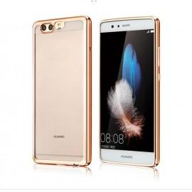 Funda Huawei P10 Plus Gel Transparente con bordes Dorados