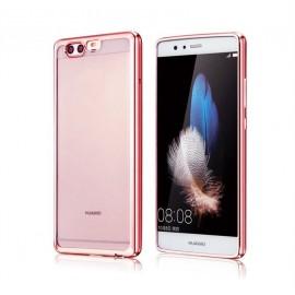 Funda Huawei P10 Plus Gel Transparente con bordes Rosados