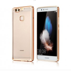 Funda Huawei P10 Plus Gel Transparente con bordes Dorados
