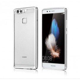 Funda Huawei P10 Lite Gel Transparente con bordes Dorados
