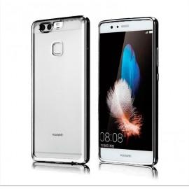 Funda Huawei P10 Lite Gel Transparente con bordes Plateados