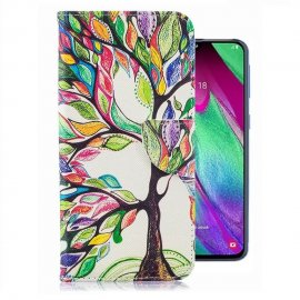 Funda Libro Samsung Galaxy A40 cuero Dibujo Arbol