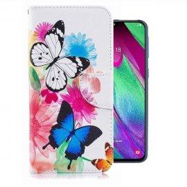 Funda Libro Samsung Galaxy A40 cuero Dibujo Mariposas