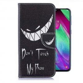 Funda Libro Samsung Galaxy A40 cuero Dibujo Sonrisa