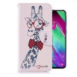 Funda Libro Samsung Galaxy A40 cuero Dibujo Jirafa