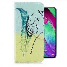 Funda Libro Samsung Galaxy A40 cuero Dibujo Libertad