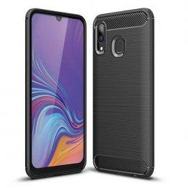 Funda Samsung Galaxy A20 Tpu 3D Cepillada Negra