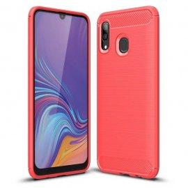 Funda Samsung Galaxy A20 Tpu 3D Cepillada Roja
