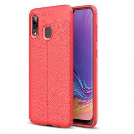 Funda Samsung Galaxy A20 Tpu 3D Cuero Roja