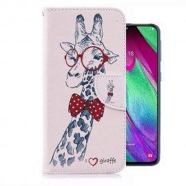 Funda Libro Samsung Galaxy A20 cuero Dibujo Girafa