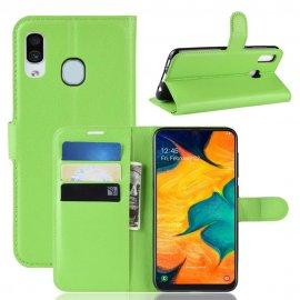 Funda Libro Samsung Galaxy A20 cuero Soporte Verde
