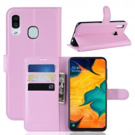 Funda Libro Samsung Galaxy A20 cuero Soporte Rosa