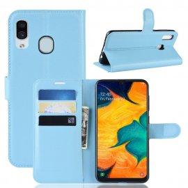 Funda Libro Samsung Galaxy A20 cuero Soporte Azul