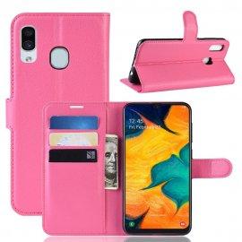 Funda Libro Samsung Galaxy A20 cuero Soporte Fucsia