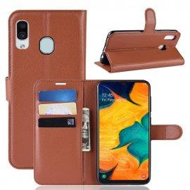 Funda Libro Samsung Galaxy A20 cuero Soporte Marron