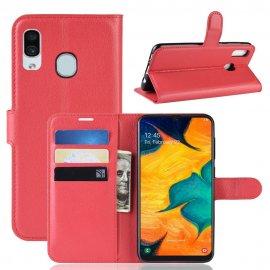 Funda Libro Samsung Galaxy A20 cuero Soporte Roja