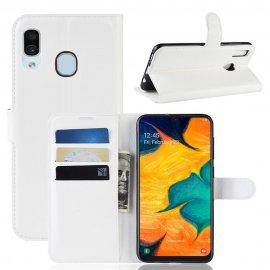 Funda Libro Samsung Galaxy A20 cuero Soporte Blanca