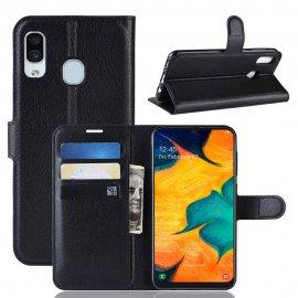 Funda Libro Samsung Galaxy A20 cuero Soporte Negra