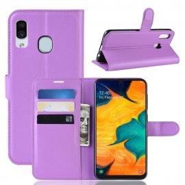 Funda Libro Samsung Galaxy A20 cuero Soporte Lila