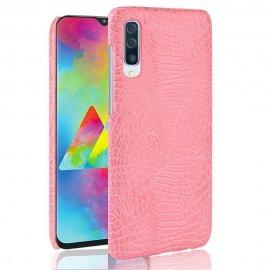 Carcasa Samsung Galaxy A70 Cuero Estilo Croco Rosa