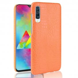 Carcasa Samsung Galaxy A70 Cuero Estilo Croco Naranja