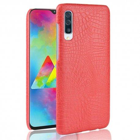 Carcasa Samsung Galaxy A70 Cuero Estilo Croco Roja