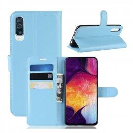 Funda Libro Samsung Galaxy A70 cuero Soporte Azul
