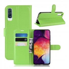 Funda Libro Samsung Galaxy A70 cuero Soporte Verde