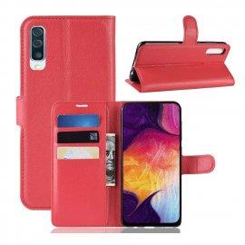 Funda Libro Samsung Galaxy A70 cuero Soporte Rojo