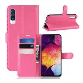 Funda Libro Samsung Galaxy A70 cuero Soporte Fucsia