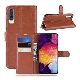 Funda Libro Samsung Galaxy A70 cuero Soporte Marron